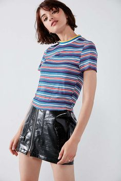 Slide View: 6: Project Social T Striped Tipped Tee