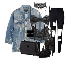"""""""Untitled #1522"""" by elinaxblack on Polyvore featuring WithChic, R13, L'Agent By Agent Provocateur, Yves Saint Laurent, Chanel and Kendall + Kylie"""