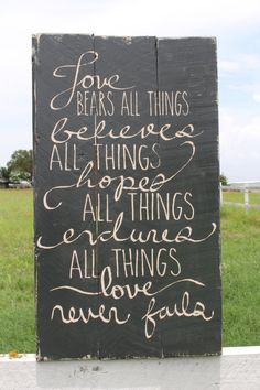 "Corinthians 13:4-8 Reclaimed Wood Sign - 18""H x 10 1/2""W"