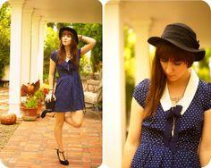 Collar Dress, Hat, T Strap Heels