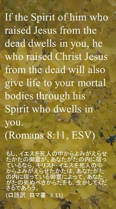 If the Spirit of him who raised Jesus from the dead dwells in you, he who raised Christ Jesus from the dead will also give life to your mortal bodies through his Spirit who dwells in you. (Romans 8:11, ESV)もし、イエスを死人の中からよみがえらせたかたの御霊が、あなたがたの内に宿っているなら、キリスト・イエスを死人の中からよみがえらせたかたは、あなたがたの内に宿っている御霊によって、あなたがたの死ぬべきからだをも、生かしてくださるであろう。 (口語訳 ロマ書 8:11)
