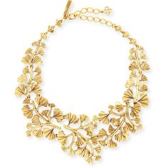 Oscar de la Renta Gold-Plated Fern Necklace ($595) ❤ liked on Polyvore featuring jewelry, necklaces, gold, yellow jewelry, gold plated necklace, gold plated jewelry, 24 karat gold necklace and chain necklace