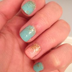 Did it myself! Turquoise and peach nail polish with gold glitter! So proud of how it turned out!