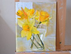 Original daffodil painting fine art yellow by garimadesigns