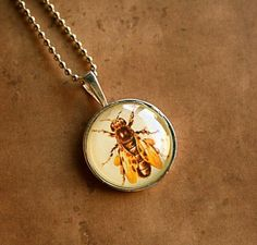 Get buzzing!  Bee pendant necklace for spring, by CrowBiz, $ 15 full-time-etsy-crafters