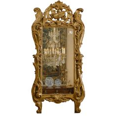 Louis XV Period Gilt-wood Mirror with Rare Wine Trophy, c. 1760