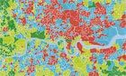 A poverty map of London - interestingly people involved in past years riots come from the areas in red, which is not a surprise. It's an outrage that such a rich city has so much deprivation.