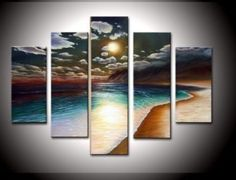 Wieco Art- Stretched and Framed 100% Hand-painted Wall Art Free Shipping the Yellow Beach High Q. Wall Decor Landscape Oil Paintings on Canvas 5pcs/set  - Click image twice for more info - See a larger selection of wall paintings at http://www.zbestsellers.com/level.php?node=106&title=oil-paintings - home, home decor, home ideas, wall decor, oil paintings, gift ideas Item# 1530