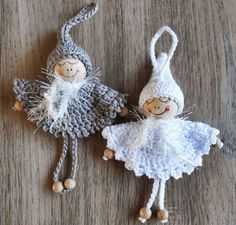Inspiration for Christmas angels Crochet Christmas Decorations, Crochet Ornaments, Holiday Crochet, Crochet Snowflakes, Angel Ornaments, Christmas Knitting, Crochet Gifts, Christmas Crafts, Tree Decorations