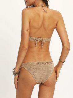 Bikini abalorio flecos crochet -kaki-Spanish SheIn(Sheinside) Sitio Móvil