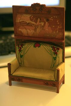 beautiful little art nouveau doll house sofa