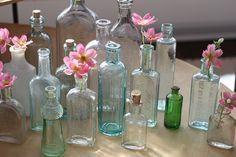glass bottles as vases
