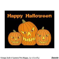 Creepy Jack-o'-Lantern Trio Happy Halloween Postcard.  50% off with code APRILSHOWERS  Offer is valid through April 27, 2017 11:59 PM PT.  #zazzle #postcard #jack_o_lanterns #creepy_jack_o_lanterns #pumpkins #Happy_Halloween