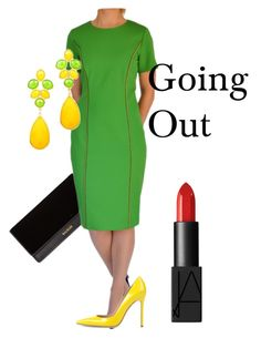 Green Dress Going Out by tubino-skirts-dresses on Polyvore featuring mode, Gianvito Rossi, Balmain and NARS Cosmetics