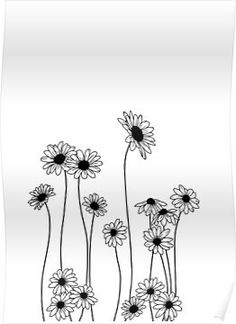 Flower Drawing Discover Daisies botanical line drawing Poster by TheColourStudy Line Art Flowers, Flower Line Drawings, Flower Sketches, Daisy Flowers, Pencil Flower Art, Daisy Flower Tattoos, Line Flower, Drawing Flowers, Plant Drawing