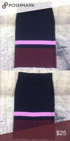 Ann Taylor exquisite pencil skirt Ann Taylor exquisite pencil skirt viscose nylon polyester and spandex blend dark blue pink and burgundy colors Ann Taylor Skirts Pencil