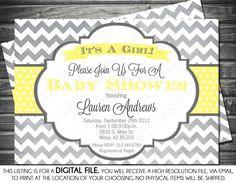 Yellow and Gray Chevron Baby Shower Invites | Girls Baby Shower Invitation - Chevron, Gray, Yellow, Printable ...