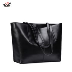Leather handbags big bag 2016 new European and American minimalist  high-capacity black leather Ms 82d5500812cc3