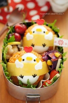 Rolled chicken bento, looks like cherries, either fried shrimp or chicken, tiny sausages, Japanese style croquets with a band of egg sheet with half a decorated quail egg Cute Food, Good Food, Yummy Food, Healthy Meals For Kids, Kids Meals, Healthy Food, Kawaii Cooking, Bento Box Lunch, Bento Lunchbox