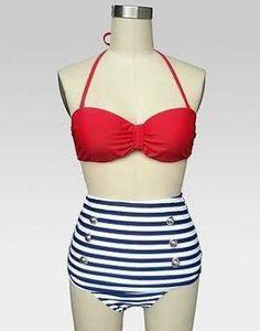 sailor highwaist bikini summer styles pinterest