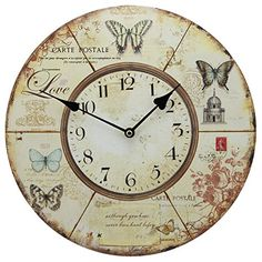 13 wall clock with french county butterflies postcard rustic prints