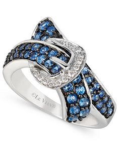 Le Vian 14k White Gold Ring, Ceylon Sapphire (1 ct. t.w.) and Diamond Accent Bypass Buckle Ring
