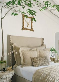 "Neutrals in bedroom - Make it ""natural"" with tree and tiny fountain - relaxing and draws ears away from other white noises."