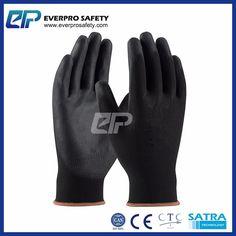13G Balck Polyester Liner Black PU Coated Work Gloves