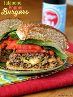 Jalapeño Popper Burgers - You can also make a mild version with pickles instead of peppers!