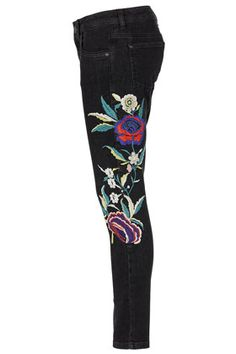 MOTO Floral Embroidered Jeans - Jeans  - Clothing