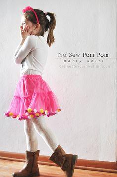 No Sew Pom Pom Party Skirt, Delineateyourdwelling.com