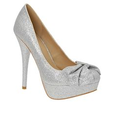 Silver glitter pumps with bow