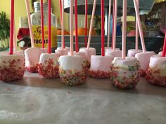 Marshmallow pops! They were so good!! #sprinkles #icing #marshmallows #fun #cooking #pink