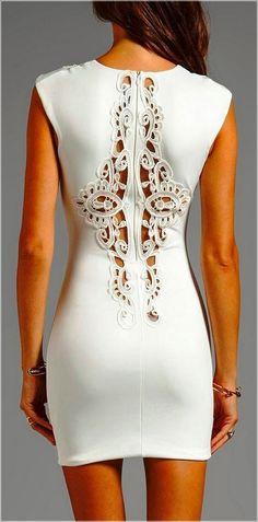 White Sleeveless Back Detail Dress