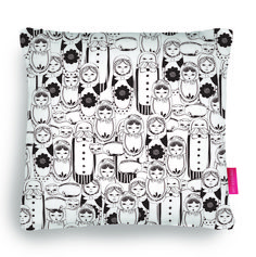Quirky Illustrated Gifts | Doll Face | Ohh Deer  cushion, pillow, russian doll, home, decor, black and white, illustration
