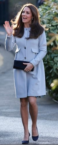 All smiles: The Duchess was on cheerful form as she arrived in a pale blue coat by Seraphine Princesa Charlotte, Princesa Kate, Prince William And Kate, William Kate, Princesse Kate Middleton, Herzogin Von Cambridge, Kate Middleton Style, Blue Coats, Duke And Duchess