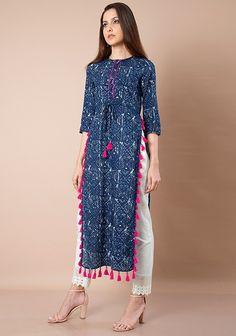 High Slit Tunics - Buy Indo Western High Slit Kurtas Online for Women in India - Indya Kurti Neck Designs, Kurta Designs Women, Blouse Designs, Indian Fashion, Boho Fashion, Fashion Dresses, Pakistani Outfits, Indian Outfits, Stylish Dresses