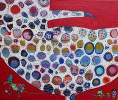 Elke Trittel acrylic/collage on canvas 55x60cm