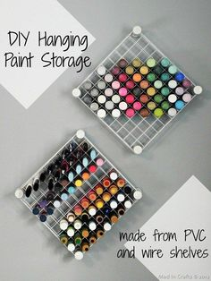 Set up some hanging craft paint storage using wire cubes.