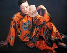 Chen Yifei 陈逸飞 Chen Yifei ( April 1946 - April was a famous Chinese classic painter, director and vision artist. Chen, Street Art, Orange Twist, Memoirs Of A Geisha, Trending Art, Ningbo, China Painting, Painting Canvas, Canvas Art