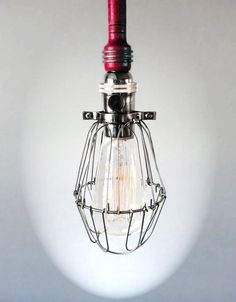 Industrial RED Cage Light - Edison Bulb Pendant Light Fixture, Black Cord, Plug-in