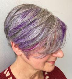 50 Gray Hair Styles Trending in 2020 - Hair Adviser - 50 Gray Hair Styles Trending in 2020 – Hair Adviser Gray Pixie Bob with Bright Lavender Highlights Lavender Highlights, Gray Hair Highlights, Pixie Bob, Short Pixie, Box Braids Hairstyles, Edgy Hairstyles, Scene Hairstyles, Short Grey Hair, Short Hair Styles