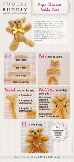 Orange Petal | Make a small SWAP like a pipe cleaner teddy bear and have the girls keep track of it until the next meeting | Pipe Cleaner Teddy Bear Instructographic