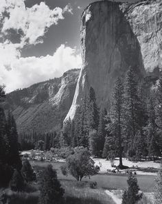 1961 El Capitan, Yosemite Valley, California with swimmers & picnickers By Ansel Adams