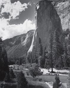 1961 El Capitan, Yosemite Valley, California with swimmers & picnickers By Ansel Adams
