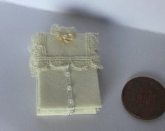 Handmade 1/12th Scale DollHouse Miniature Ladie pile of 3 Folded Cream Lace victorian style cream blouses