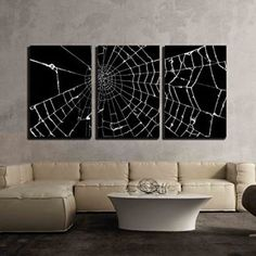 Equally cool and modern, Halloween metal wall art is a great option as it provides a room with depth and texture.  Especially when you combine it with some of the other Halloween decorative elements I mentioned above.  As a result your home will look frighteningly cool and trendy for Halloween 2017. wall26 - 3 Piece Canvas Wall Art - Spider Web on Black Background - Modern Home Decor Stretched and Framed Ready to Hang - 16