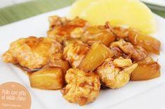 Pollo al estilo chino con pina Pequerecetas