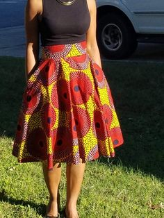 Items similar to Red, Yellow & black Record Ankara Cirle skirt;ready To Ship on Etsy Africanstylesforladies Latest African Fashion Dresses, African Print Fashion, Africa Fashion, African Attire, African Wear, African Dress, African Models, African Traditional Dresses, Ankara Skirt And Blouse