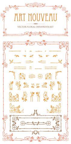 Art Nouveau Vector Set - June Freebies